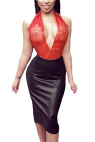 Rebecca Red Halter Lace Panel Vinyl Faux Leather Dress