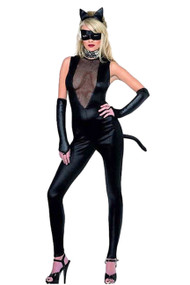 Midnight Kitty Vinyl Faux Leather Catsuit Costume