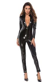Elvira Zipup Vnyl Faux Leather Catsuit