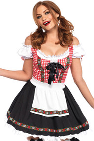 Red Plaid Gingham Beer Maid Peasant Dress Costume