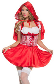 Red Riding Hood Gingham Peasant Dress Costume