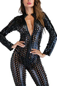 Black Vinyl Punched Dotted Faux Leather Catsuit