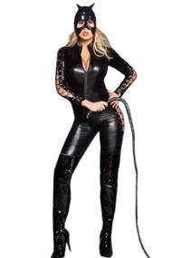 Catwoman Lace up Vinyl Catsuit Costume