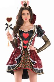 Deluxe Alluring Queen of Hearts Vinyl Costume