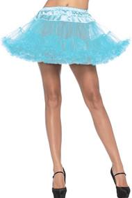 Blue Plain Ruffle Petticoat Tutu Skirt
