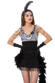 Silver Black Fringed Flapper Babe Costume