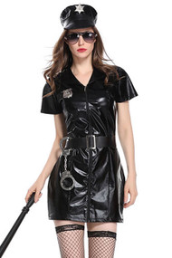 Black Vinyl Sexy Cop Costume XL