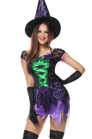 Purple Seductive Witch Costume XL