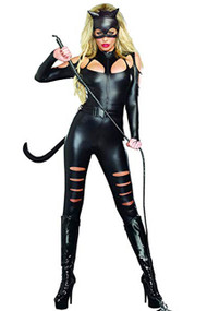 Deluxe Vinyl Cat Woman Catsuit Costume