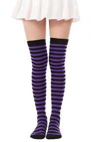Gothic Witch Purple Black Stripe Over the Knee Costume Socks
