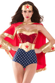 Retro Wonder Woman Heroine Teddy Costume