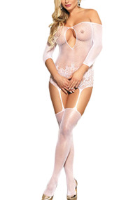 White Sheer Floral Quarter Sleeve Garter Cut out Bridal Body Stockings