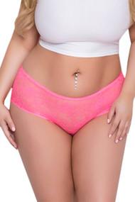 Joy Pink Ruffle Back Open Crotch Lace Hipster Panty Plus Size