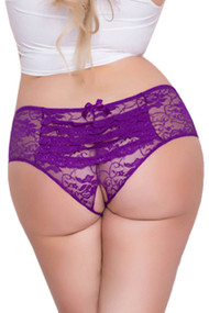 Joy Purple Ruffle Back Open Crotch Lace Hipster Panty Plus Size