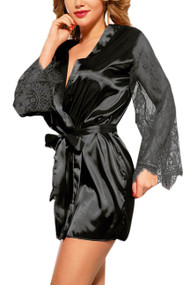 Emy Black Satin Lace Sleeves Robe Set