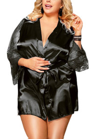 Emy Black Satin Lace Sleeves Robe Set Plus Size