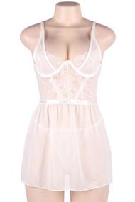 White Nancy Demi Bra Underwire Lace Sheer Chemise