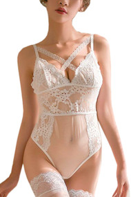 Callie White Lace and Sheer Mesh Cross Bodysuit Teddy