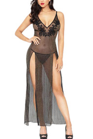 Black Inez Sparkle Sheer Plunging Slit Long Gown