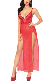 Red Inez Sparkle Sheer Plunging Slit Long Gown