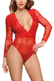Dawn Red Sheer Polkadot Long Sleeve Teddy Bodysuit