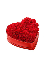 Red Carnation Flowers in a Heart Box Vintage Blooms by Lucky Doll®