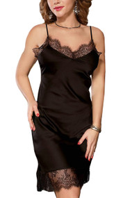 Mabel Black Satin Sleep Chemise