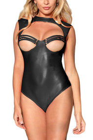 Isabel Black Cupless Faux Leather Vinyl Strappy Teddy