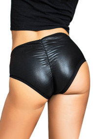 Black Vinyl Ruched back Faux Leather Mid Waist Panty