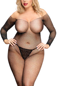 Glam Sparkle Full Crotchless Body Stockings Plus Size