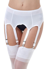 Bianca White Mesh Retro Garter Belt Panty Set