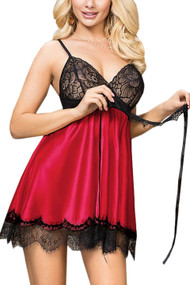 Scarlett Black Lace Red Satin Babydoll