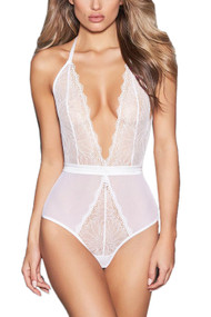 Yasmin White Lace Plunge Teddy