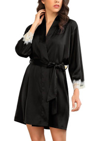 Ella Black Satin Chemise Robe Lingerie Set