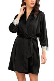 Ella Black Satin Chemise Robe Lingerie Set