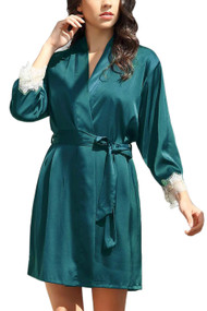 Ella Emerald Green Satin Chemise Robe Lingerie Set