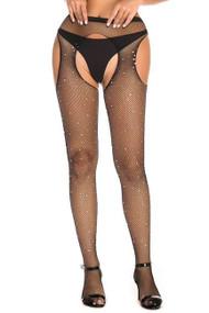 Sparkle Fishnet Rhinestone Garter Pantyhose