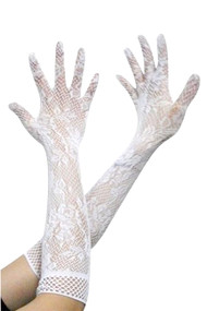 Gothic White Lace Fishnet Long Gloves