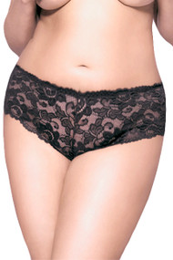 Sexy Black Floral Lace Cheeky Panty Plus Size