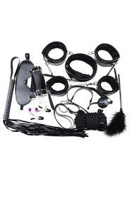 Black Faux Leather Fur Lined 13 piece Beginner's Bondage Kit