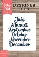 Cursive July to December Words Die Set