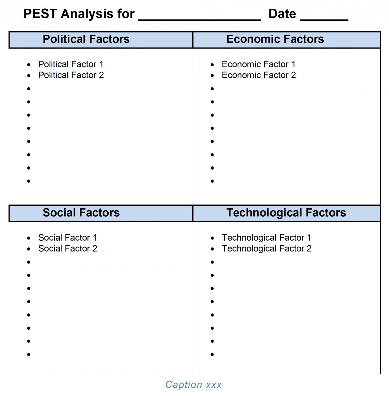 Pest analysis template word 2007 2010 2013 for Pestel analysis template word