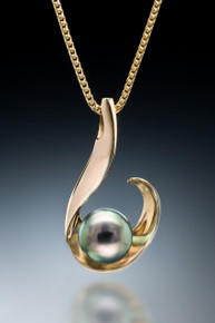 Spirit of a Wave Tahitian Pearl Pendant in 18k gold