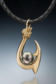 Double Barb (Kauai style) Tahitian Pearl Pendant in 18k gold