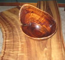 Koa Bowl On Koa Table