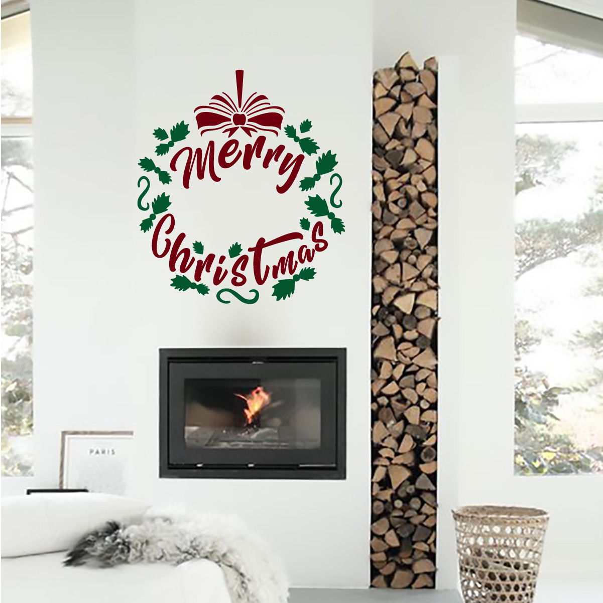 Merry Christmas Wreath Wall Decal