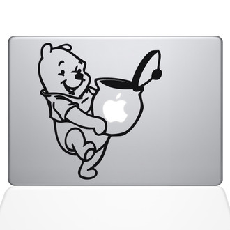 Winnie the Pooh Honey Jar Macbook Decal Sticker Black