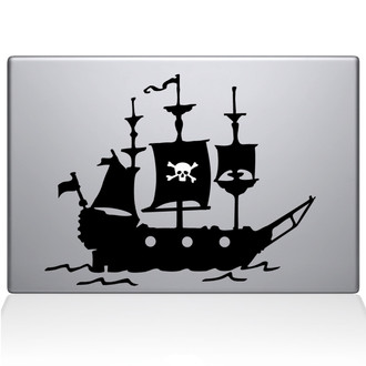 Pirate Ship Macbook Decal Sticker Black