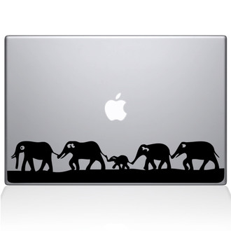 Elephant March Macbook Decal Sticker Black