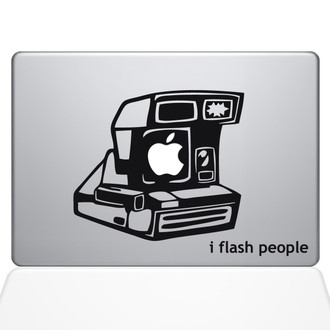 I Flash People Vintage Camera Macbook Decal Sticker Black